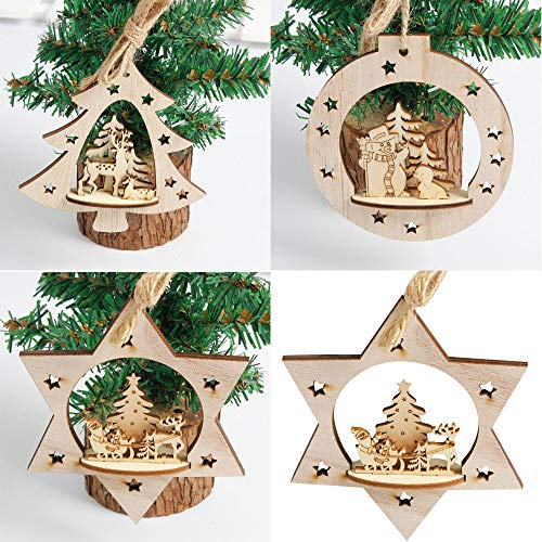 Gotian 3Pcs Wood Hanging Ornament Snowflake Rustic Embellishments DIY Home Decor from Gotian