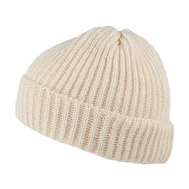 ea444739da4 Highland 2000 Merino Wool Short Fisherman Beanie Hat - Natural 1-Size   Amazon.co.uk  Clothing