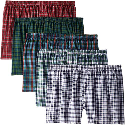 Fruit of the Loom Men's Woven Tartan and Plaid Boxer Multipack (X-Large, Assorted Tartan (5 Pack)) (Fruit Of The Loom Brief Men)