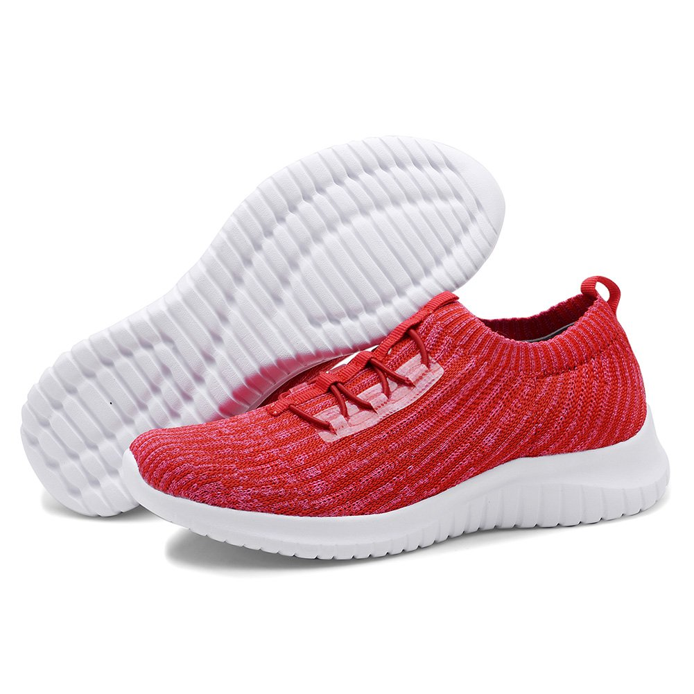 KONHILL Women's Lightweight Athletic Sports Running Shoes Walking Casual Sports Athletic Knit Workout Sneakers B07DNBPSVJ 6.5 B(M) US|2122 Red e528da