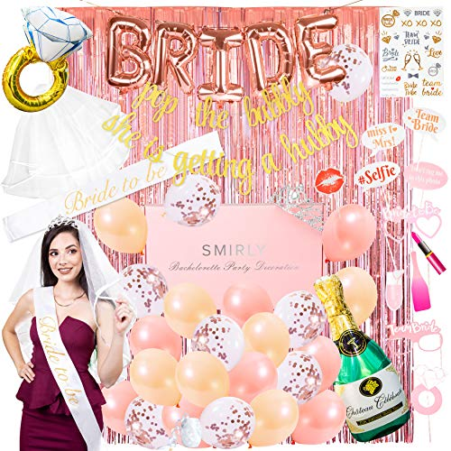 Decorations For Bachelorette Party (Smirly Bachelorette Party Decorations Kit: Rose Gold Bridal Shower Party Decor and Supplies - Includes Bride Sash, Gold Glitter Banner, Foil Balloons, Flash Tattoos, Tinsel Curtain, and More - 50)