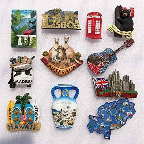 yqs imanes de Nevera 11 Piezas EE. UU. Reino Unido Canadá Australia Grecia Portugal España Barcelona Madrid Imanes De Nevera World Travel Souvenirs Decoración del Hogar: Amazon.es: Hogar