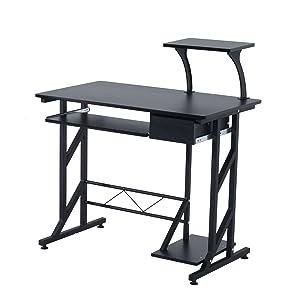 HOMCOM Mesa de Ordenador PC Despacho Escritorio 90x50x95cm Mobiliario Oficina Madera