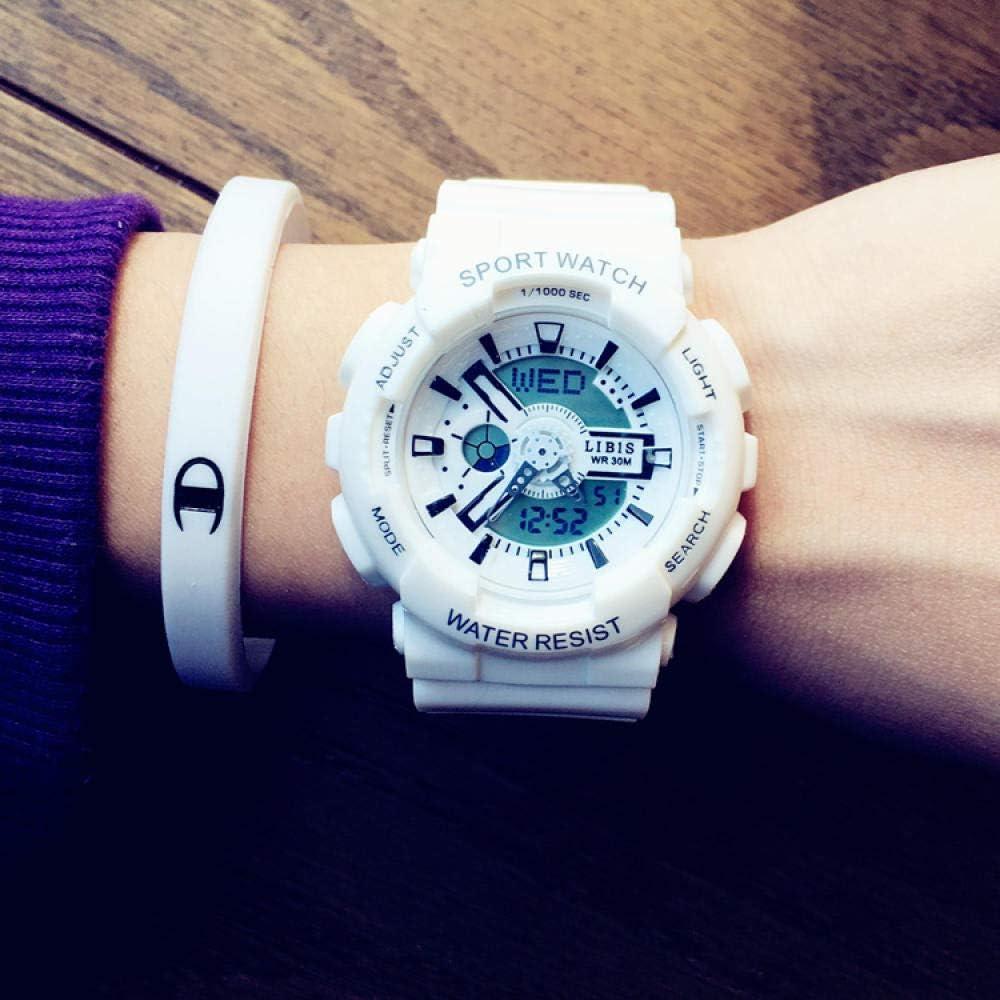 TWCAM Bracelet Homme Cuir Magnetique- Regarder Les Hommes Et Les Femmes De Camouflage Montre De Sport Électronique Imperméable, Tout Noir Platinum Small
