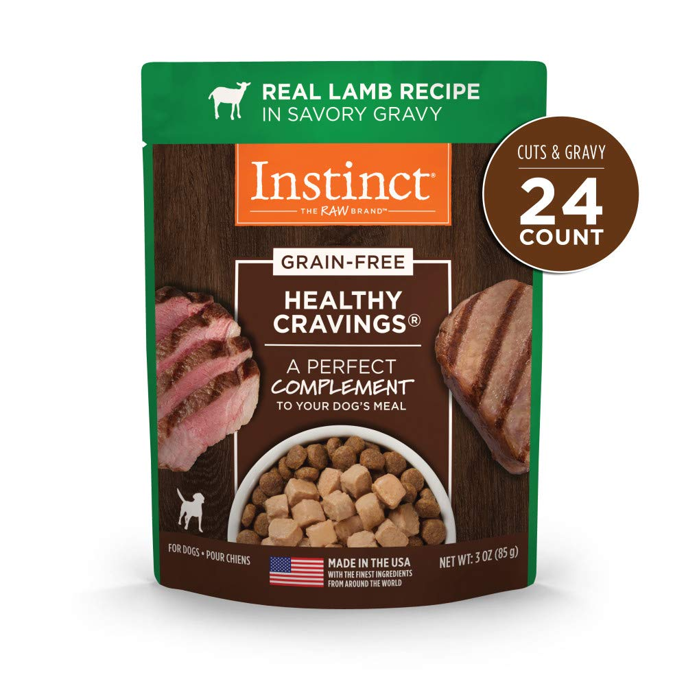Nature's Variety Instinct Healthy Cravings Grain Free Real Lamb Recipe Natural Wet Dog Food Topper, 3 oz. Pouches (Case of 24) by Instinct