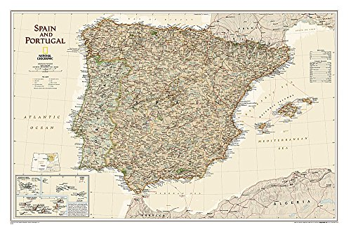National Geographic: Spain and Portugal Executive Wall Map - Laminated (33 x 22 inches) (National Geographic Reference Map)