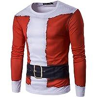 Homme T-Shirt à Manches Longues 3D Imprimé Rudolph Père Noël Vêtement de Noël Top Pull Blouse
