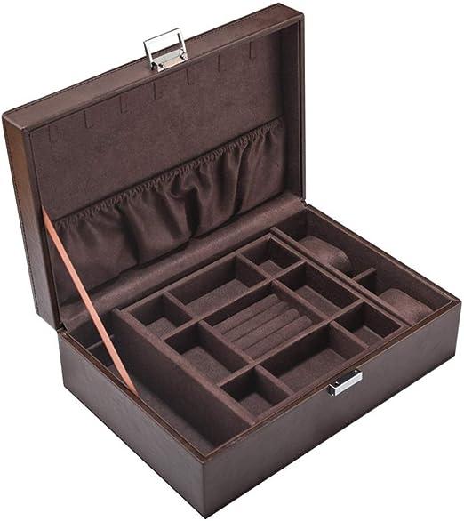 Lineary Gabinete de Caja de joyería Caja de joyería Doble de Cuero ...