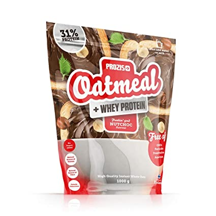 Prozis Oatmeal con Whey Protein 1000g - Cereales Repletos de Hidratos de Carbono de Alta Calidad y Fibras Saciantes -Sabor NutChoc -Apto para ...