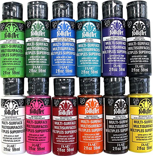 FolkArt Multi-Surface Paint Set (2 Ounce), PROMO830 No.1 (12-Pack) -