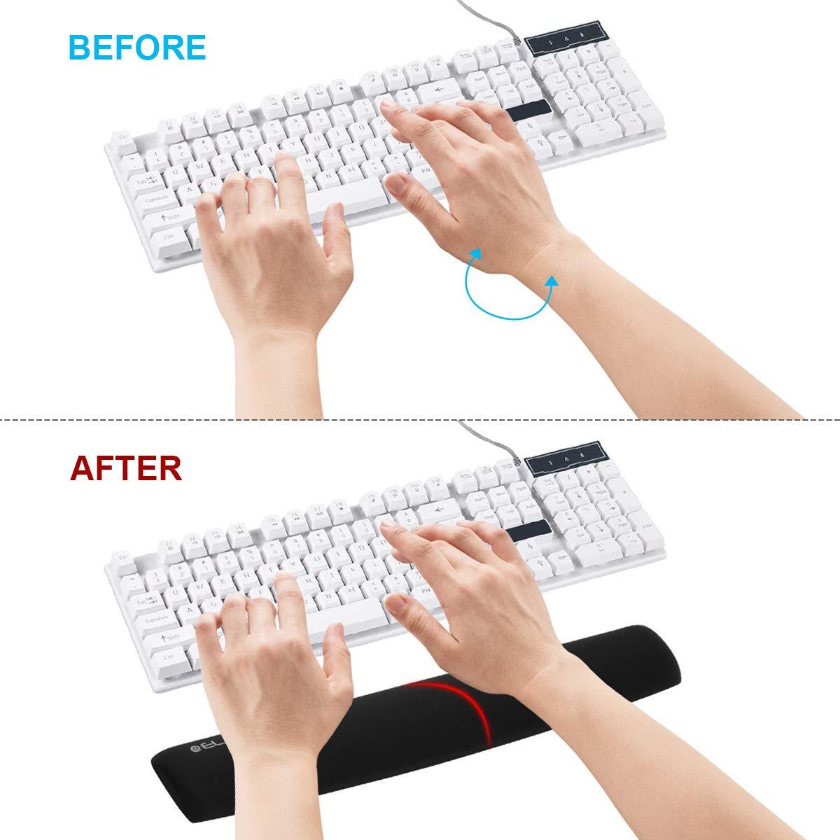 Schwarz Gelf/üllung ELZO Crystals Gel-Tastatur-Handballenauflage Mauspad und Tastatur Handgelenkst/ütze Set Textile Oberfl/äche