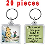 Clear Photo Frame Keychain Set - 20 PCs Square Shape Transparent Blank Acrylic Snap-in Personalized Picture Frame Key…