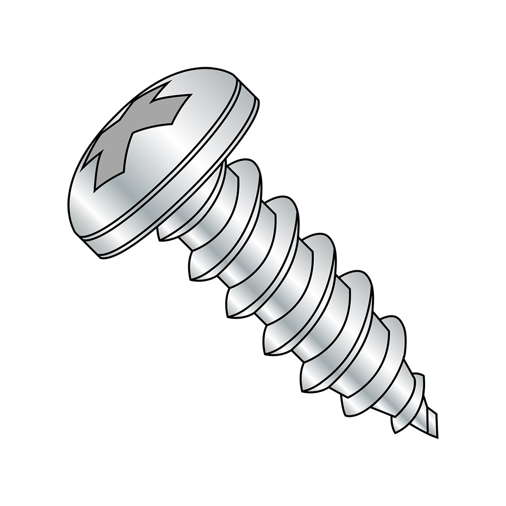 Steel Sheet Metal Screw, Zinc Plated, Pan Head, Phillips Drive, Type AB, #4-24 Thread Size, 1/4'' Length (Pack of 10000)