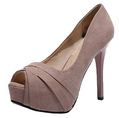 23adba28bdf3 Snone Escarpins Femme Talons Hauts Bouche de Poisson Talon Fin Talons Hauts  Suede Chaussures pour Femmes
