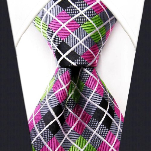 Intrepid Executive Wardrobe Accessory , Handmade 100% Silk Jacquard Woven Gray Pink Green Checked Tie 3.4