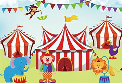 Amazon Com Ofila Cartoon Circus Backdrop 5x3ft Clown Animals Kids