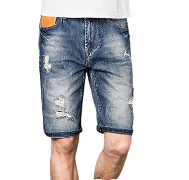 Männer Denim Shorts Baumwolle Hosen Schlanke Loch Licht
