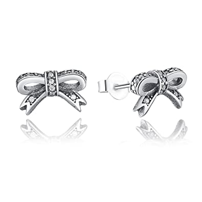 7be9fec8b BAMOER 925 Sterling Silver Bow Stud Earrings with Clear Cubic Zirconia for  Girls