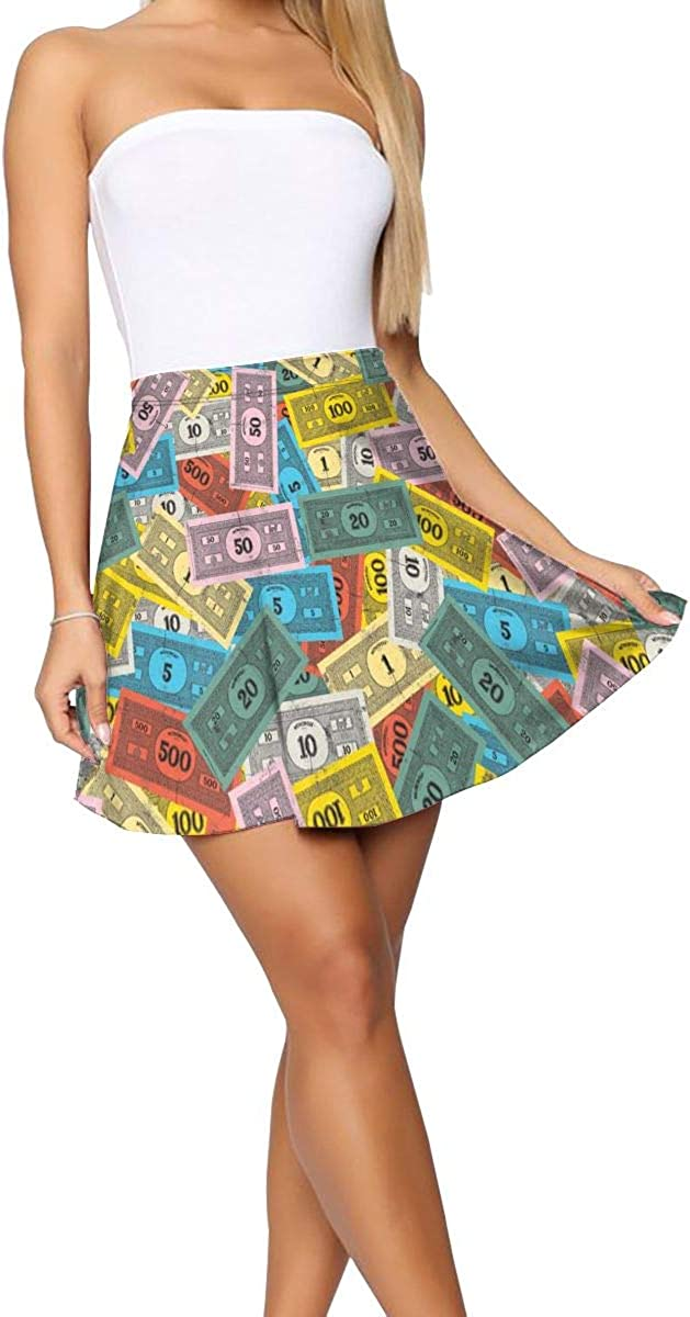 Vintage Monopoly Money Women's Casual Cute Casual Mini Skater Skirt A Line Flared Skirt