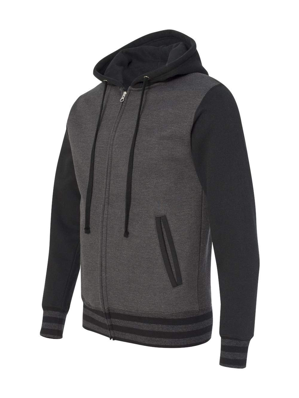 Independent Trading Co. Mens Varsity Zip Hood, 3XL, Charcoal Heather/Black by Independent Trading Co.