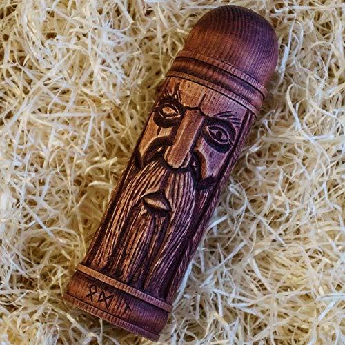 Wooden Rune Box Odin Thor Freyr Statue Futarkh Viking Scandinavian Norse Idol Asatru Pagan Art Wood Carving Hand Made Decor Free Shipping