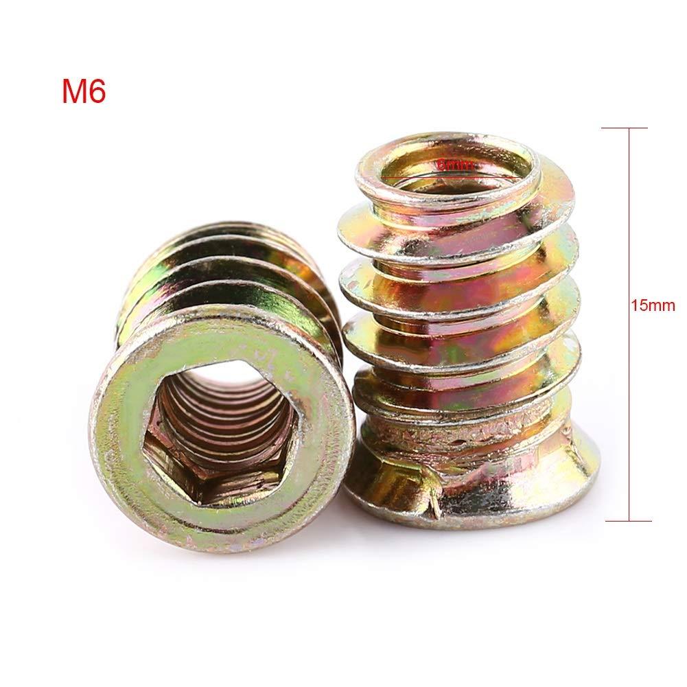 BiuZi Insert Nut 20Pcs Zinc Plated Carbon Steel Flat Head Nuts Coarse Thread Screw-in Hex Drive Head Nut M610mm, M613mm, M615mm, M617mm, M620mm, M625mm Size : M615mm