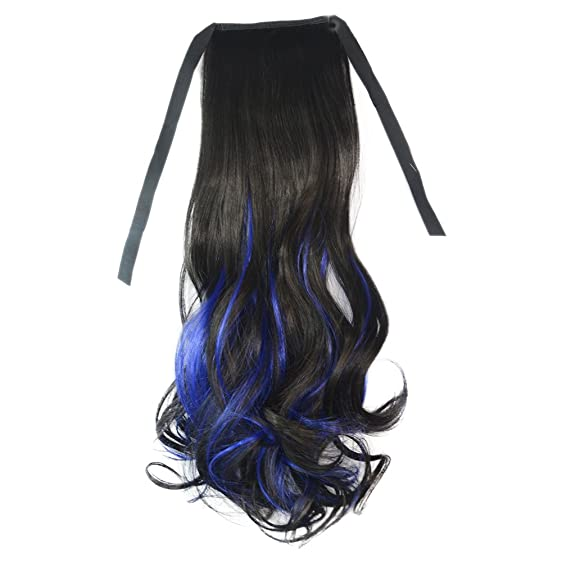 Amazon Horsetail Wig Large Pear Hot Lace Up Black Sapphire Blue