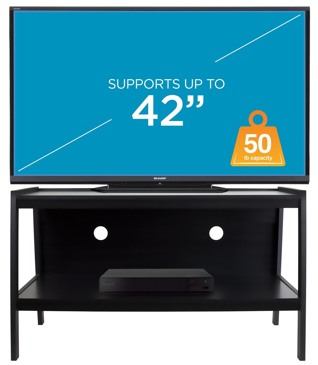 Mount-It! Wood TV Stand and Storage Console for 32, 35, 37, 39, 40, 42 Inch Flat Screen TVs, 50 Lbs Capacity, Black by Mount-It!