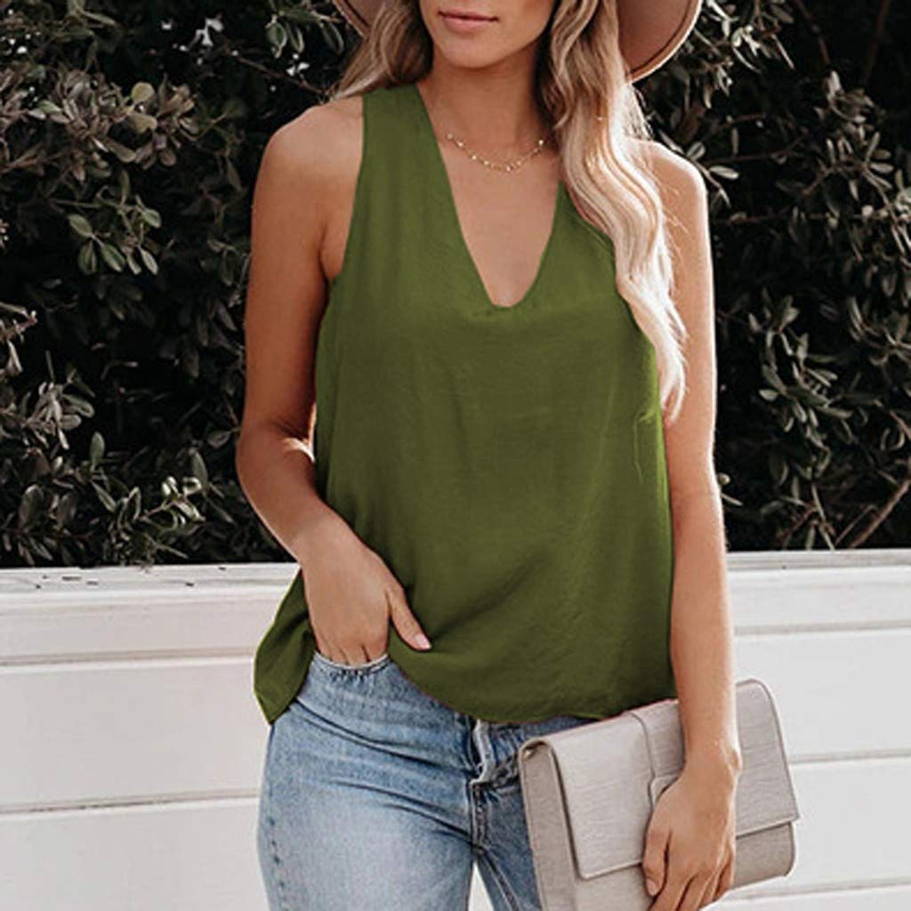 Jesaisque Women V Neck Solid Color Cross Back Casual Loose Sleeveless Shirts Cami Tank Tops Shirt
