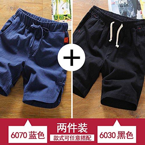bleu noir XL HAIYOUVK courtes Hommes's été Loose Pants Solid Couleur été Décontracté Pants Hommes's Thin Section Sports plage Pants Hommes's Pants