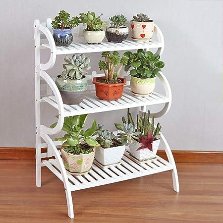 Chairs FL Estantes para Plantas/estanteria Jardin Soporte de Flor Estante de Flor de Madera Soporte de exhibición de Flor de Planta de 3 Capas Blanco Interior Exterior estanterias de Jardin: Amazon.es: Hogar