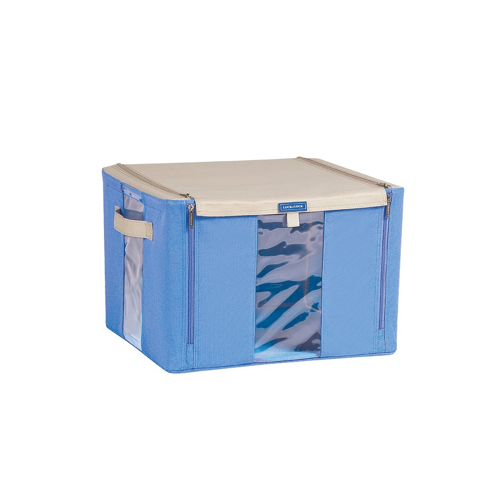 Lock&Lock Living Box Window Type 16-1/2 by 16-1/2 by 11-Inch Straingt Zipper Home Storage, Blue