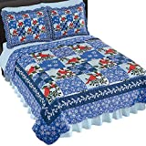 Collections Etc Winter Cardinals & Snowflakes Christmas Patchwork Quilt, Red Blue, Twin