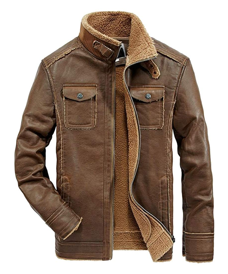 Joe Wenko Mens Pocket Faux Leather Outerwear Stylish Fleece Bomber Fall Winter Parka Jacket