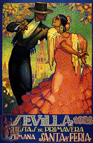 Sevilla Seville 1928 Trip to Spain Spanish Spring Fashion Lady Girl Man Couple Flamenco Dance Travel Tourism 20'' X 30'' Image Size Vintage Poster Reproduction, We Have Other Sizes Available on Amazon by Heritage Posters