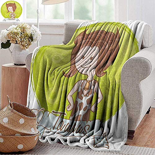 PearlRolan Travel Blanket,Taurus,Cute Cartoon Little Girl Dressed Like Cow with Spots and Horns Image,Light Caramel Apple Green,Cozy Hypoallergenic, Easy to Carry Blanket 30