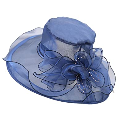 1b670a4689f Auranso Women Organza Summer Sun Hat Church Kentucky Derby Gauze Cap Ascot Race  Hats Wedding Wide