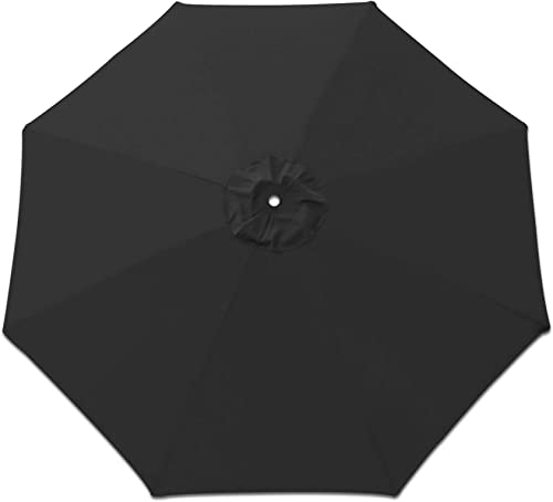 Strong Camel Replacement Patio Umbrella Canopy Cover for 9ft 8 Ribs Umbrella Canopy ONLY Black