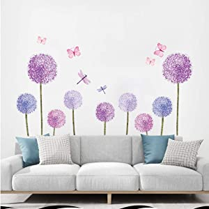 ufengke Purple Dandelions Wall Stickers Butterflies Flower Wall Decals Wall Art Decor for Girls Bedroom Living Room