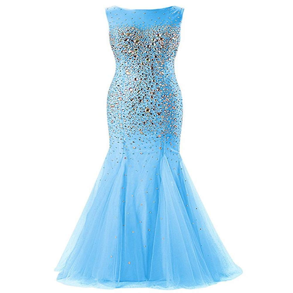 bluee DRLYQYJF Evening Dresses Long Scoop Beaded Crystal Tulle Backless Formal Party Gown Prom Dresses Robe