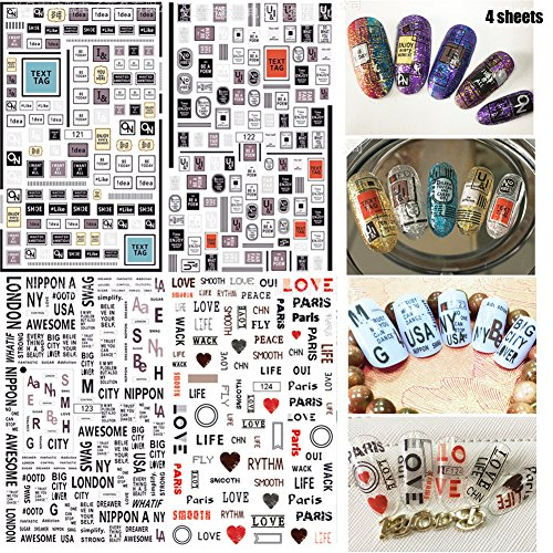 Lookathot 4 Sheets Nail Art Stickers Decals Mixed color Number Letter Pattern Nail DIY Decoration Tools]()