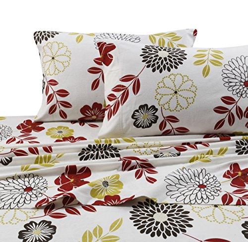 Tribeca Living Floral 5 oz Flannel Printed Extra Deep Pocket Sheet Set, King, Multicolor