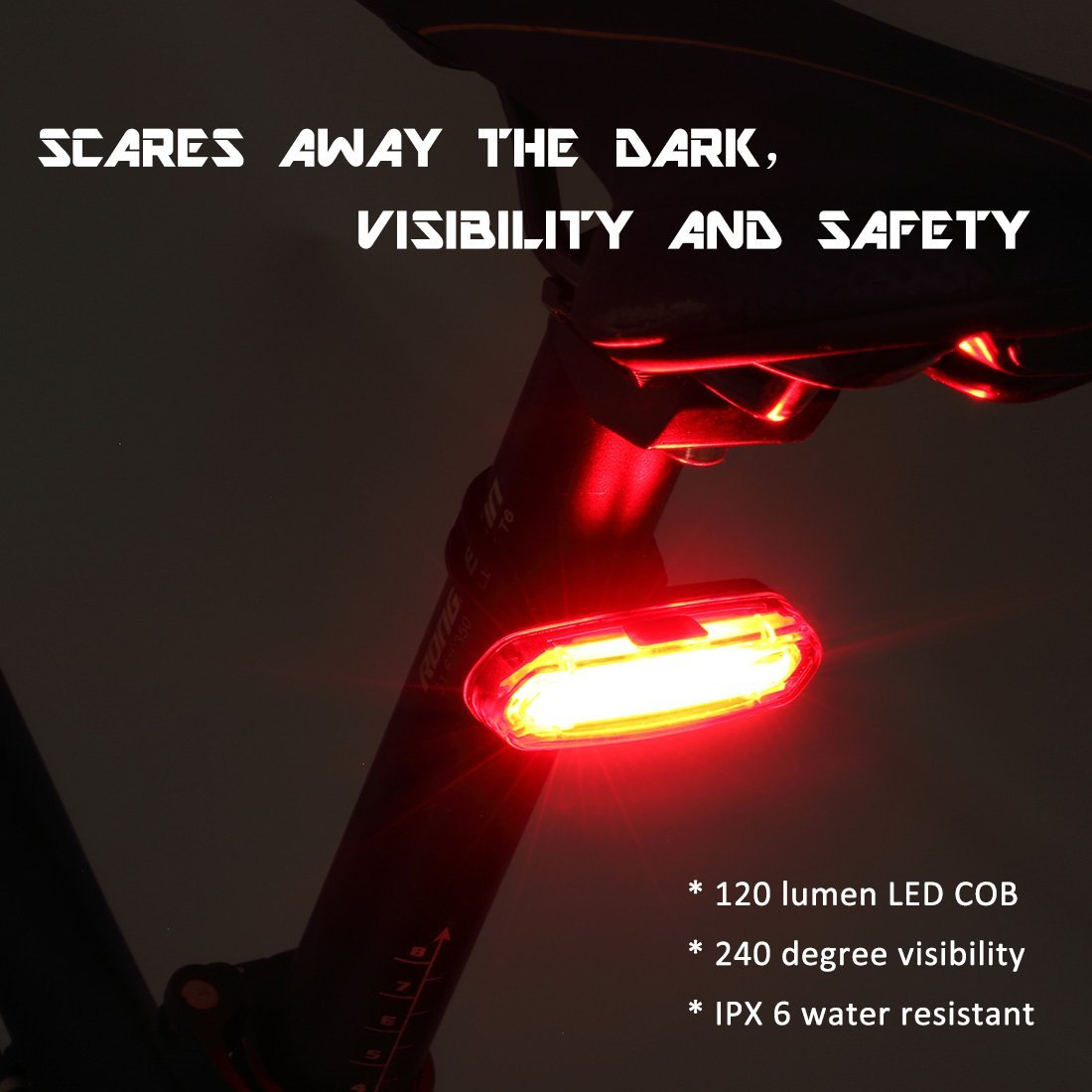 Bicycle Tail Light With Usb Rechargeable Ultra Red And Flashing White Bright 6 Modes In One Rear Led Safety Strobe Compatible Bikes