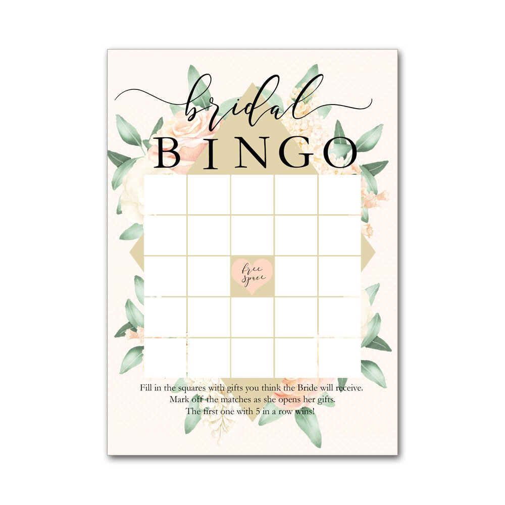 Bingo Game Cards for Bridal Wedding Showers with Watercolor Peach and White Roses BBG80031 by Heads Up Girls