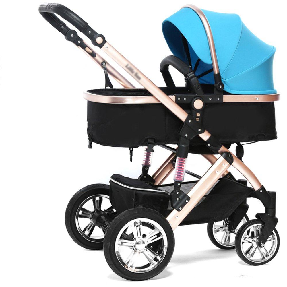 LVZAIXI 赤ちゃんのベビーカーのトラベルシステム赤ちゃんのベビーカー高い風景は、子供たちがトロリー冬と夏の二重使用軽量の赤ちゃんキャリッジ調節可能なプッシャーベビーカーを座って座ることができます ( 色 : 青 ) B07CG56YH9 青 青