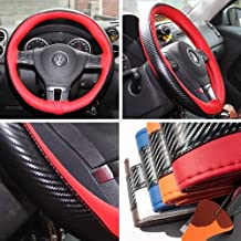 "Circle Cool Black & Red PVC Leather Carbon Fiber Style Steering Wheel Cover Wrap w/ Needle & Thread 14"" Diameter 4"" Grip Circumference 47021"