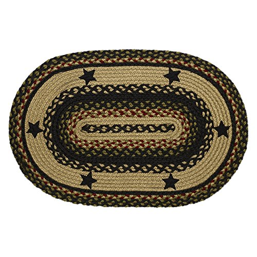 IHF Home Decor Braided Rug Oval 36 x 60 Inches Area Carpet Accent Tartan Star Design Jute Fabric