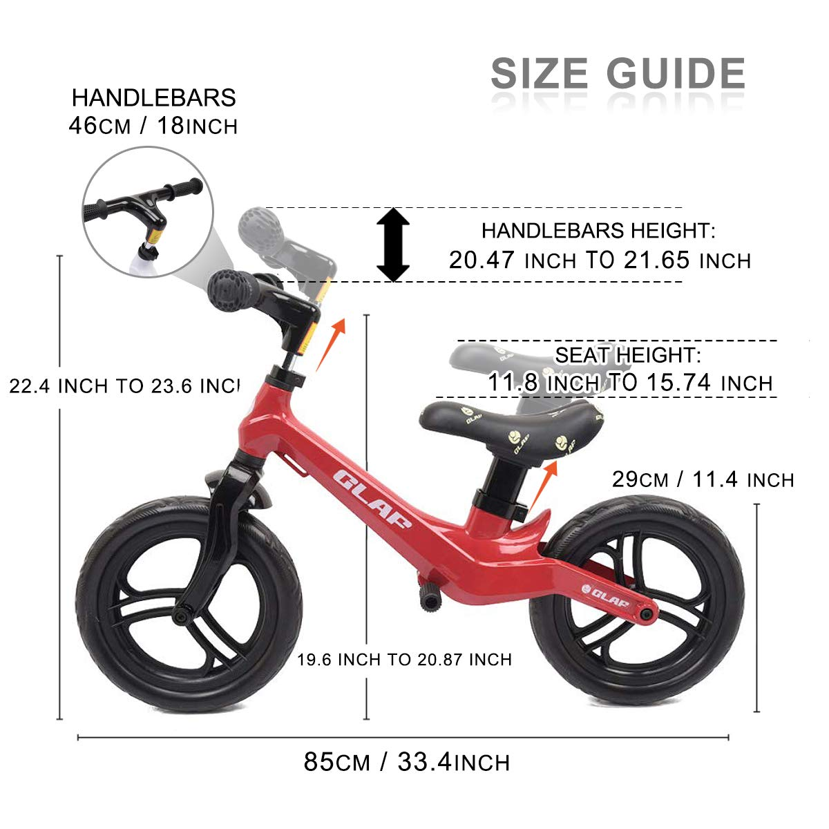 Glaf 12 inches Kids Balance Bike No Pedal Bicycle Walking Bicycle Children Toddler Balance Bike for Kids Adjustable Handlebar and Seat Training Running Bicycle for Ages 17 Month-5 Years Old (Red)