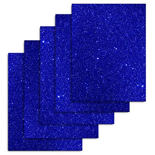 Royal Blue 12 x 10 5 Sheets Glitter Heat Transfer Vinyl Glitter Iron on Vinyl Glitter Letters for T-Shirts, Clothing,DIY Embellishments