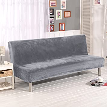 Folding Armless Sofa Cover Plush Silver Grey Solid Color Modern Simple Couch  Slipcovers
